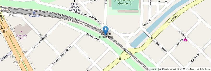 Mapa de ubicacion de Sarandi (Provisoria) en Argentina, Buenos Aires, Partido De Avellaneda, Sarandí.