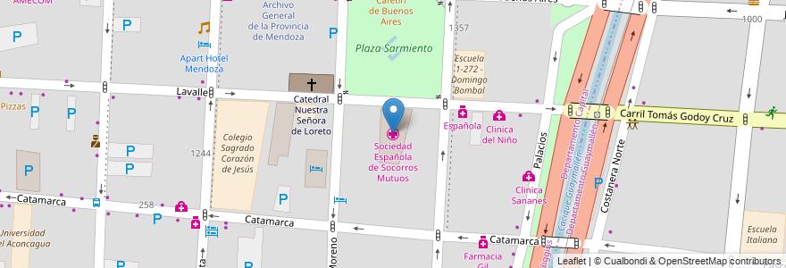 Mapa de ubicacion de Sociedad Española de Socorros Mutuos en Argentina, Chile, Mendoza, Departamento Capital, Ciudad De Mendoza, Sección 3ª Parque O'Higgins.