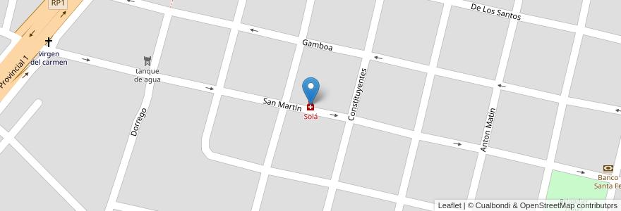 Mapa de ubicacion de Solá en San José Del Rincón, Municipio De San José Del Rincón, Departamento La Capital, Santa Fe, Argentina.