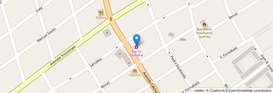 Mapa de ubicacion de Soy Tu Farmacia en Argentina, Buenos Aires, Partido De Quilmes, Quilmes.