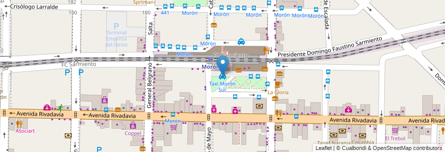 Mapa de ubicacion de Taxi Morón Sur en Argentina, Buenos Aires, Partido De Morón, Morón.
