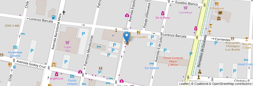 Mapa de ubicacion de Teatro Catamarca en Argentina, Chile, Mendoza, Departamento Capital, Ciudad De Mendoza.