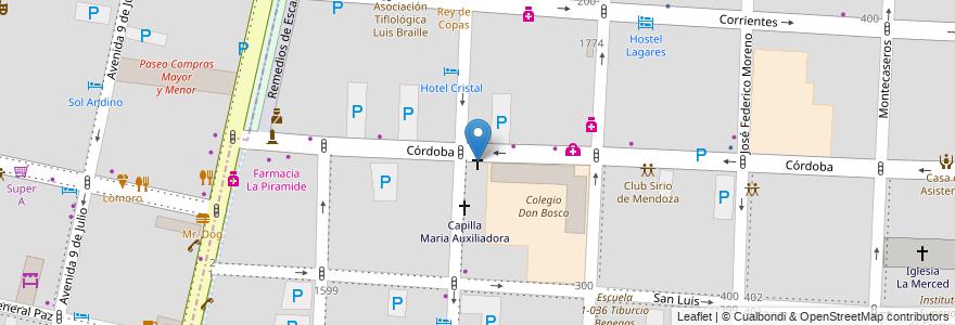 Mapa de ubicacion de Templo San Juan Bosco en Argentina, Chile, Mendoza, Departamento Capital, Ciudad De Mendoza, Sección 3ª Parque O'Higgins.
