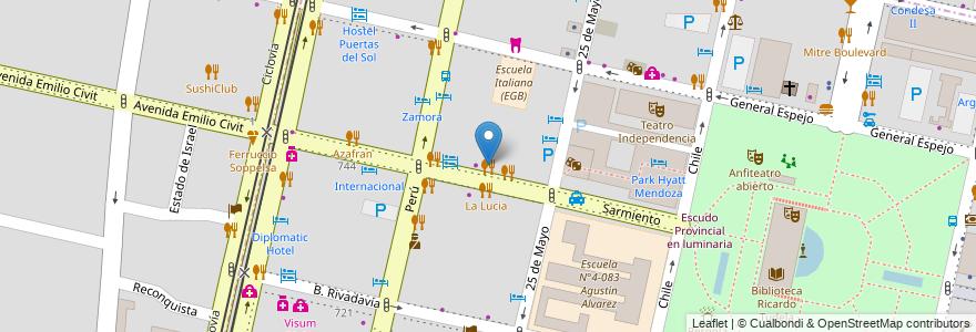 Mapa de ubicacion de Tommaso en Argentina, Chile, Mendoza, Departamento Capital, Sección 2ª Barrio Cívico, Ciudad De Mendoza.