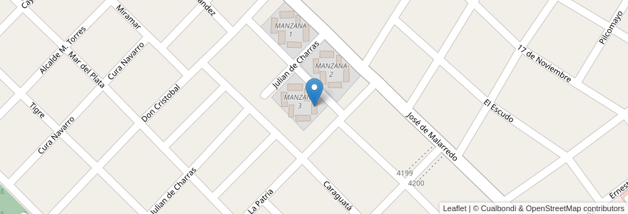 Mapa de ubicacion de TORRE 1 - MANZANA 3 en Argentina, Buenos Aires, Partido De Hurlingham, Villa Tesei.