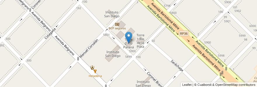 Mapa de ubicacion de Torre 2 Río Paraná en Argentina, Buenos Aires, Partido De Avellaneda, Wilde.