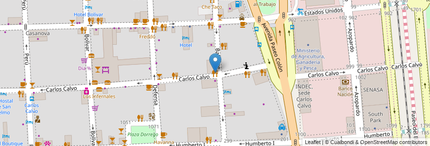 Mapa de ubicacion de Trattoria Zagara, San Telmo en Argentina, Ciudad Autónoma De Buenos Aires, Buenos Aires, Comuna 1.