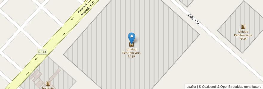 Mapa de ubicacion de Unidad Penitenciaria N°29, Melchor Romero en Argentina, Buenos Aires, Partido De La Plata, Melchor Romero.
