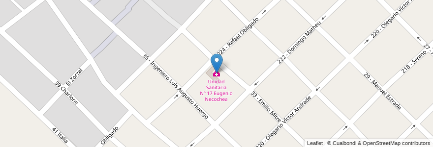 Mapa de ubicacion de Unidad Sanitaria Nº 17 Eugenio Necochea en Argentina, Buenos Aires, Partido De General San Martín, José León Suárez.
