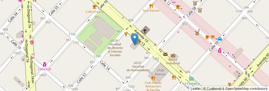 Mapa de ubicacion de Universidad Católica de La Plata, Casco Urbano en La Plata, Partido De La Plata, Buenos Aires, Argentina.