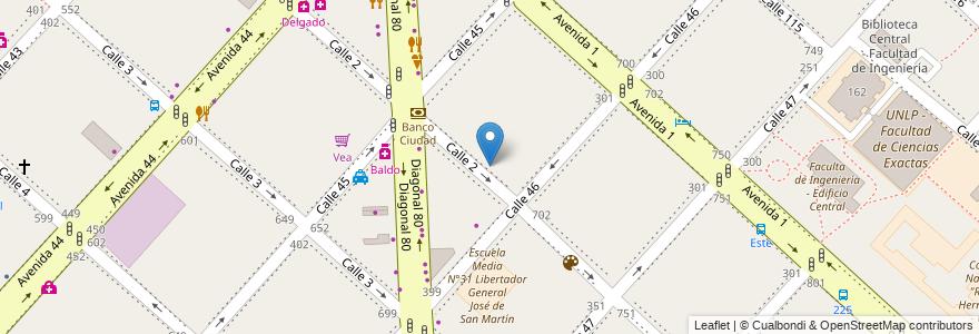 Mapa de ubicacion de Universidad del Este, Casco Urbano en La Plata, Partido De La Plata, Buenos Aires, Argentina.