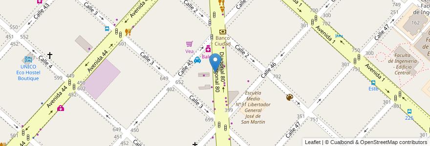 Mapa de ubicacion de Universidad del Este - Rectorado, Casco Urbano en Argentina, Buenos Aires, Partido De La Plata, La Plata.