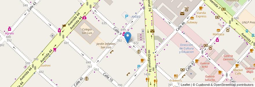 Mapa de ubicacion de Universidad Siglo 21, Casco Urbano en La Plata, Partido De La Plata, Buenos Aires, Argentina.