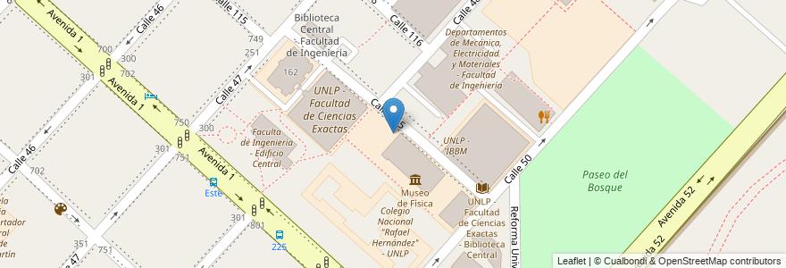 Mapa de ubicacion de UNLP - Facultad de Ciencias Exactas, Casco Urbano en La Plata, Partido De La Plata, Buenos Aires, Argentina.