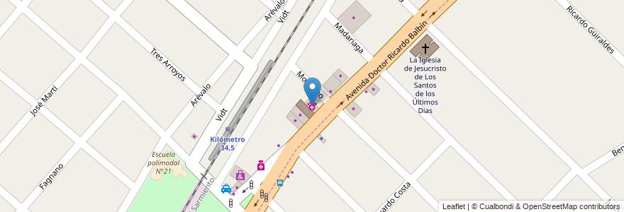 Mapa de ubicacion de Veterinaria Daktari en Argentina, Buenos Aires, Partido De Merlo, Merlo.