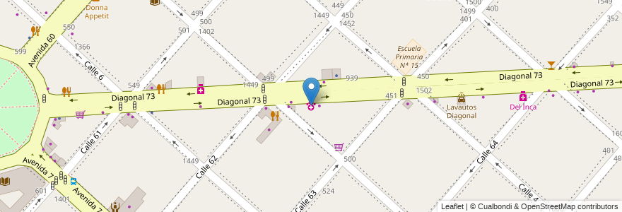 Mapa de ubicacion de Veterinaria Diagonal, Casco Urbano en La Plata, Partido De La Plata, Buenos Aires, Argentina.