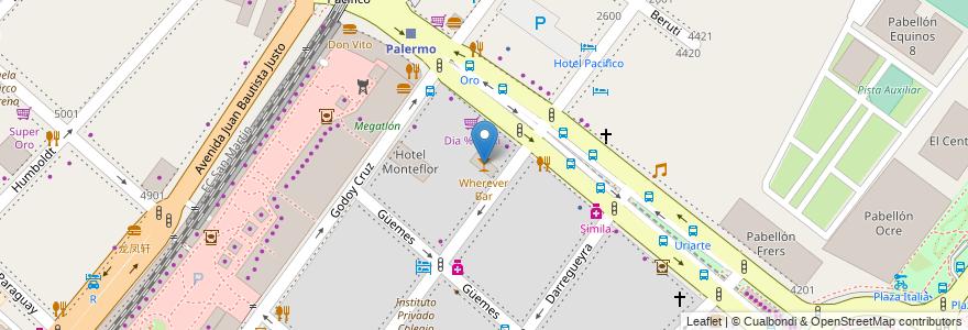 Mapa de ubicacion de Wherever Bar, Palermo en Argentina, Ciudad Autónoma De Buenos Aires, Comuna 14, Buenos Aires.
