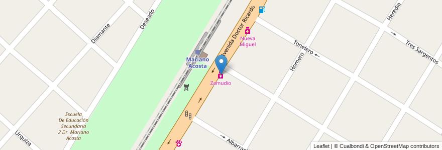 Mapa de ubicacion de Zamudio en Argentina, Buenos Aires, Partido De Merlo, Mariano Acosta.