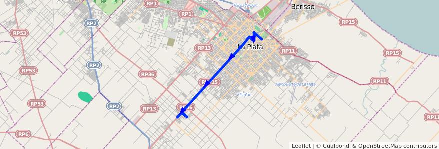 Mapa del recorrido 10 de la línea Oeste en Partido de La Plata.