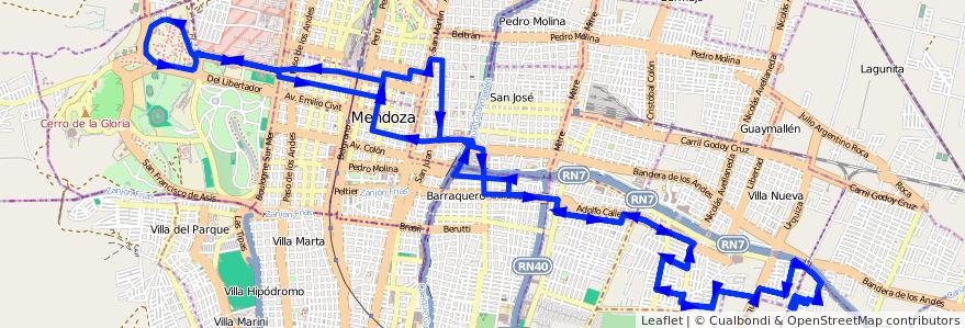 Mapa del recorrido 103 - Bº Quintanilla - Bº Cadore - U.N.C. de la línea G08 en Mendoza.