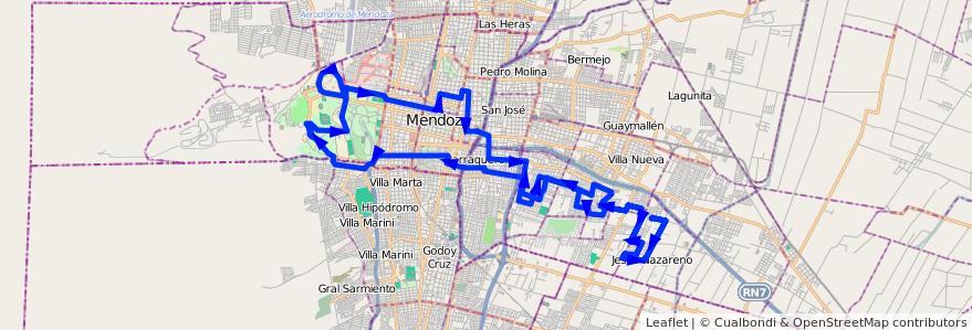 Mapa del recorrido 103 - JESUS NAZARENO - UNC- JULIAN BARRAQUERO- SAN CAYETANO  de la línea G08 en Mendoza.