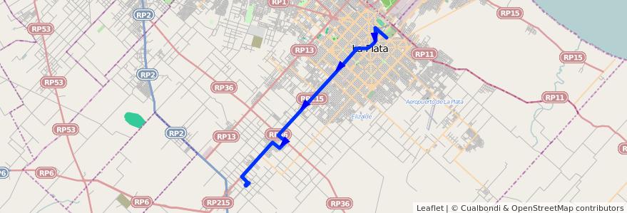 Mapa del recorrido 11 de la línea Oeste en Partido de La Plata.