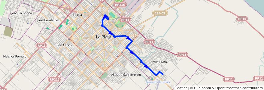 Mapa del recorrido 11 de la línea Este en Partido de La Plata.