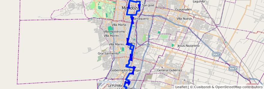 Mapa del recorrido 11 - Morales-Figueroa Alcorta con C. GOB de la línea G01 en Mendoza.