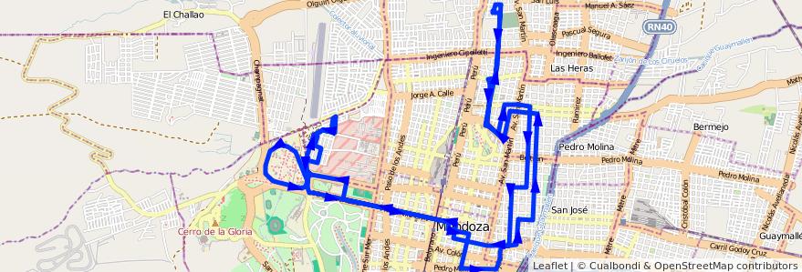 Mapa del recorrido 111-113 - Club Hípico - B° Olivares - U.N.C. por Hospital Central de la línea G03 en Ciudad de Mendoza.