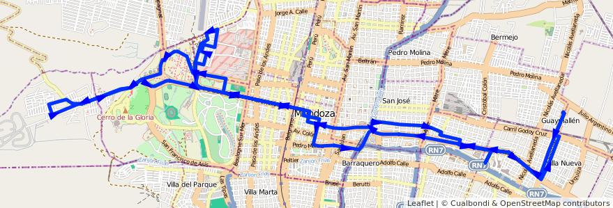 Mapa del recorrido 112 - B° La Favorita - Hospital Notti - U.N.C.  de la línea G03 en Mendoza.