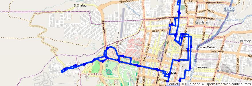 Mapa del recorrido 112 - B° La Favorita - U.N.C. - Gral. Paz - Expreso de la línea G03 en Ciudad de Mendoza.