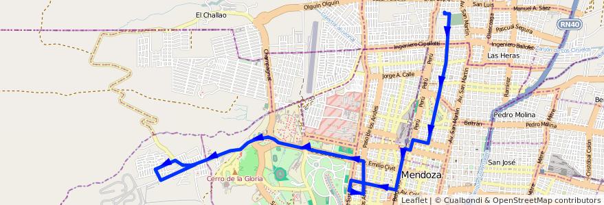 Mapa del recorrido 112 - Escuela Videla Correa - Escuela Sarmiento de la línea G03 en Ciudad de Mendoza.