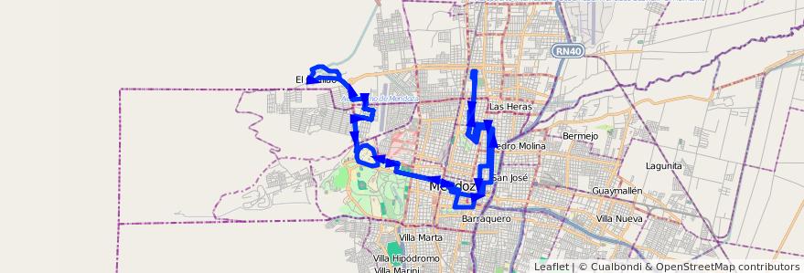 Mapa del recorrido 114-115 - B° Sanidad - El Challao por Centro - San Isidro de la línea G03 en Mendoza.