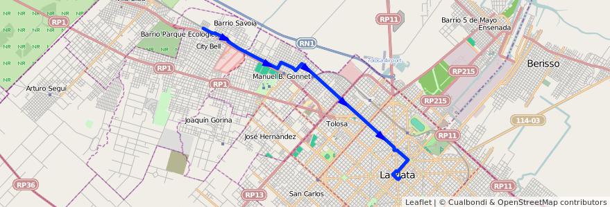 Mapa del recorrido 12 de la línea Norte en Partido de La Plata.