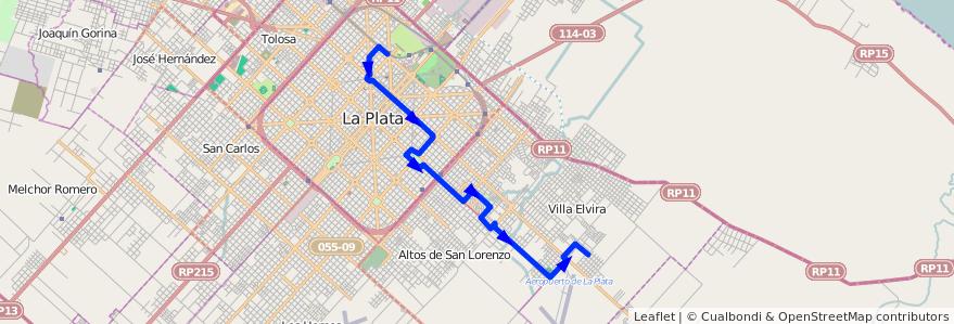 Mapa del recorrido 12 de la línea Este en Partido de La Plata.
