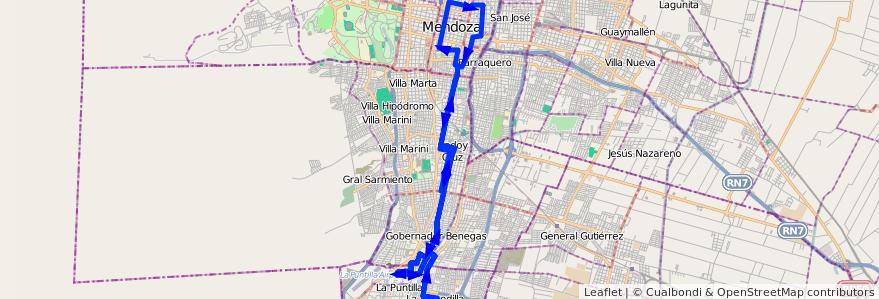 Mapa del recorrido 12 - Flor de Cuyo de la línea G01 en Mendoza.