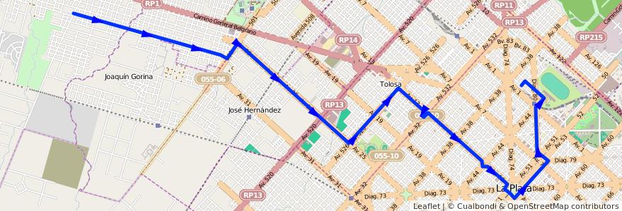 Mapa del recorrido 13 de la línea Norte en Partido de La Plata.