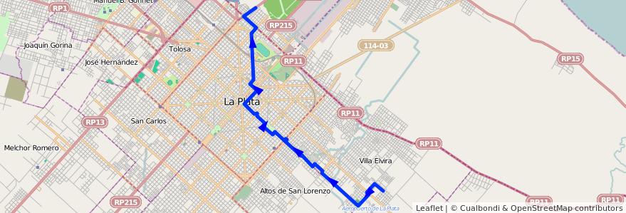 Mapa del recorrido 13 de la línea Este en Partido de La Plata.