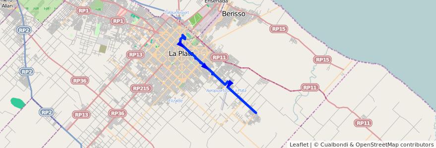 Mapa del recorrido 14 de la línea Este en Partido de La Plata.