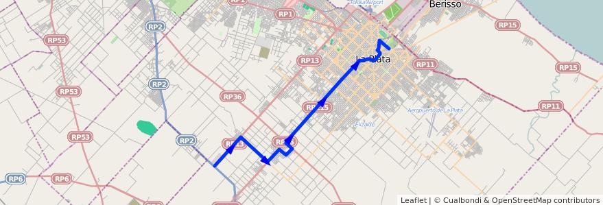 Mapa del recorrido 14 de la línea Oeste en Partido de La Plata.