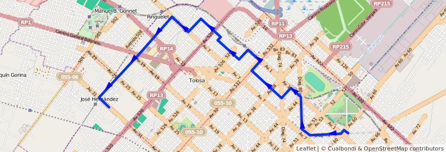 Mapa del recorrido 15 de la línea Norte en Partido de La Plata.