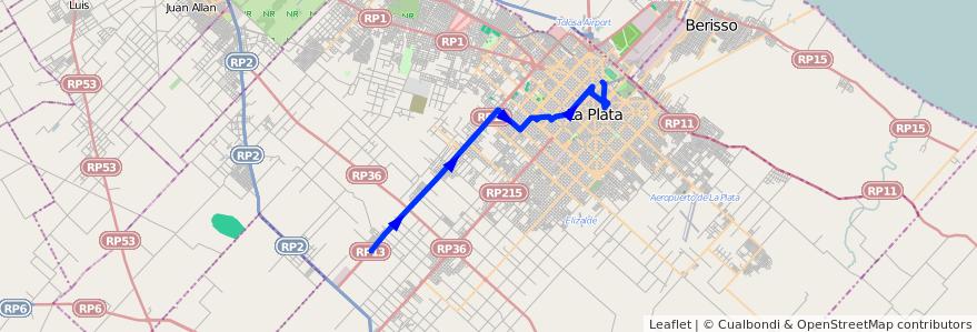 Mapa del recorrido 15 de la línea Oeste en Partido de La Plata.