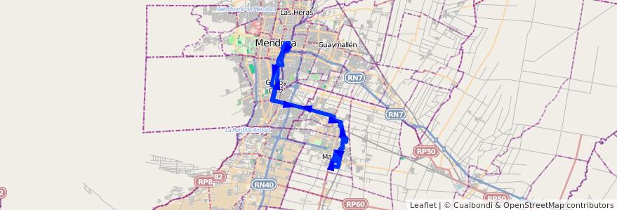 Mapa del recorrido 151 - Maipu- Mendoza- G. Cruz x Boedo (Habiles)  de la línea G09 en Mendoza.