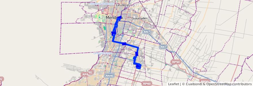 Mapa del recorrido 153 - Maipú - Mendoza por Maza de la línea G10 en Mendoza.