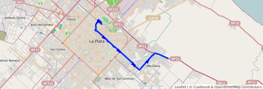 Mapa del recorrido 16 de la línea Este en Partido de La Plata.
