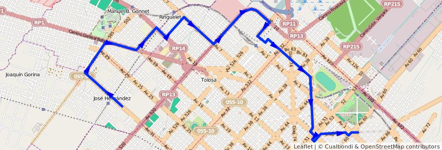 Mapa del recorrido 16 de la línea Norte en Partido de La Plata.