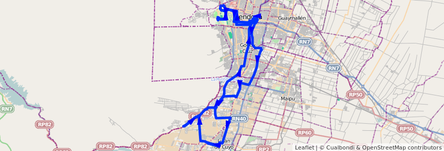 Mapa del recorrido 16 - SERVICIO SANTA ELENA - UNC - LUJÁN de la línea G01 en Mendoza.