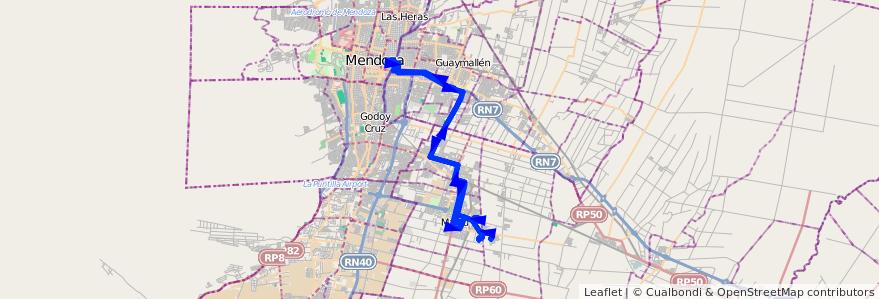 Mapa del recorrido 162 - Maipú - Mendoza - Barrio Malcayae - Hospital Italiano de la línea G09 en Mendoza.