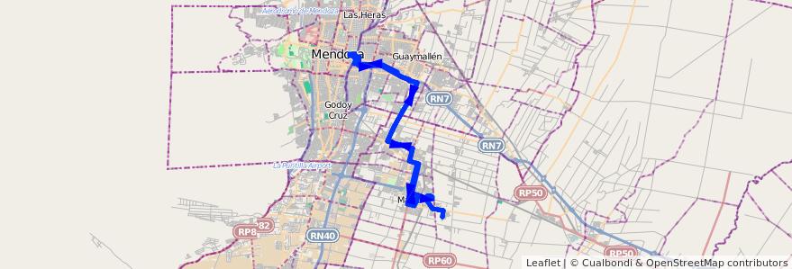 Mapa del recorrido 162 - Mendoza - Barrio Tropero Sosa- Hospital Italiano de la línea G09 en Mendoza.