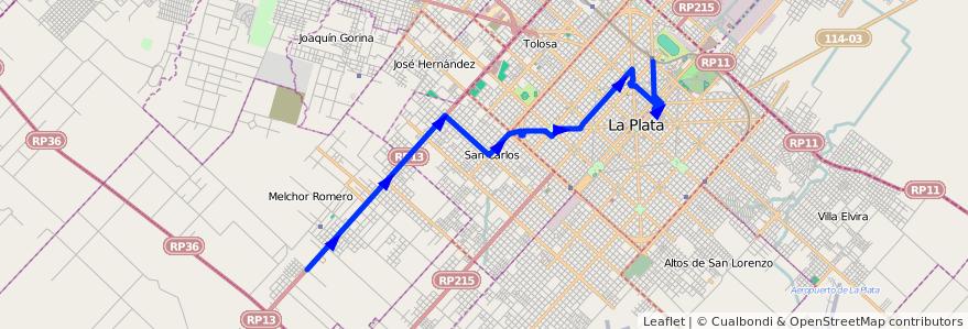 Mapa del recorrido 17 de la línea Oeste en Partido de La Plata.